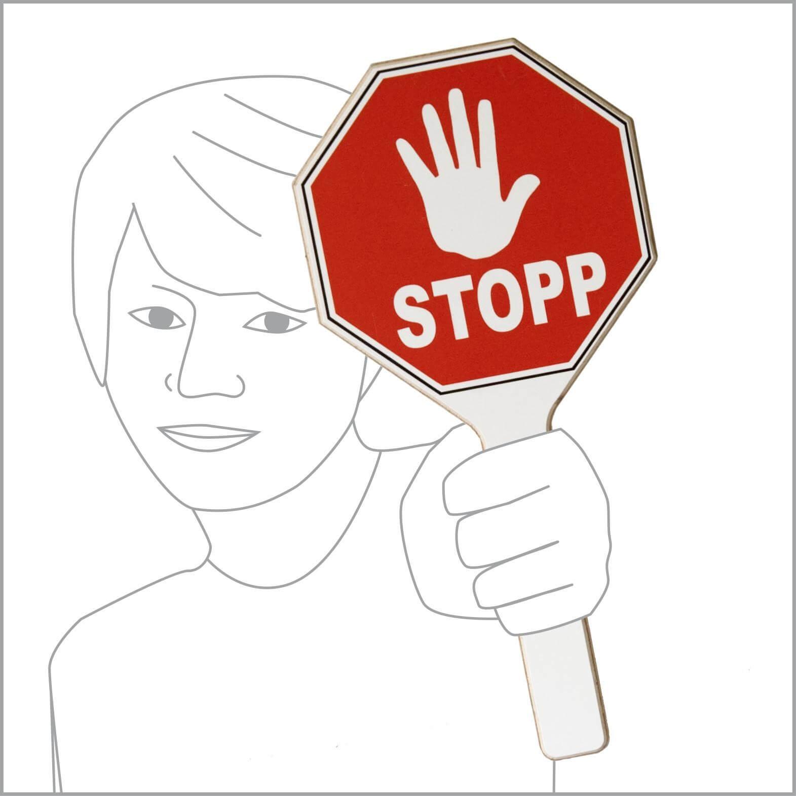"""Stopp-Schild mit Hand und  Schriftzug """"Stopp"""""""